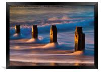 Groynes At Sunrise, Framed Print