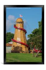 Helter skelter fair ground ride, Framed Print