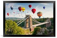 Bristol Balloon Fiesta display over Clifton Bridge, Framed Print