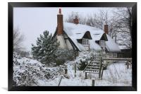 The Cottage in the Snow, Framed Print