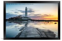 Stunning Sunrise over St Mary's Lighthouse, Framed Print
