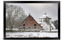 Hovdala Castle Gatehouse and Stables in Winter, Framed Print