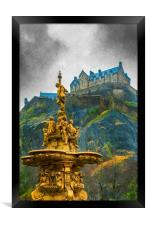 Edinburgh Ross Fountain Digital Painting, Framed Print