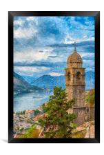 Kotor Church of Our Lady Digital Painting, Framed Print