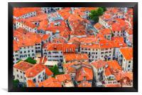 Montenegro Kotor Rooftops Digital Painting, Framed Print
