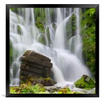 Artificial Waterfall in the mountain park Wilhelms, Framed Print