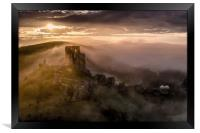 Corfe Castle misty sunrise , Framed Print