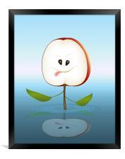 Cartoon Apple Cut, Framed Print