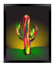 Cactus At Night Cartoon, Framed Print