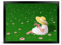 Girl In Grass, Framed Print