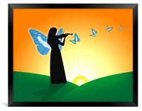 Violinist & Butterflies, Framed Print