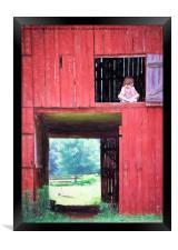 Girl in the Red Barn, Framed Print