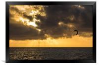 Kite surfing in Cuba, Framed Print