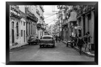 Centro Havana in monochrome, Framed Print