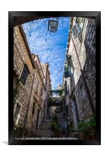 Beautiful narrow street in Dubrovnik, Framed Print