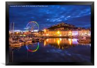 Torquay Harbour by Night, Framed Print