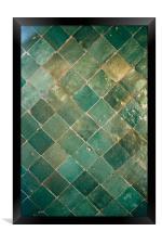 Blue Green Moroccan Tile Pattern, Framed Print