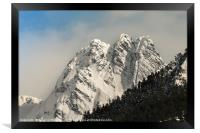 Snow on the mountain peaks, Framed Print