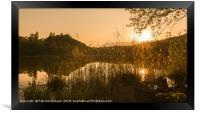 Spring sunset over the lake, Framed Print
