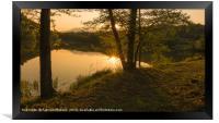 Sunset over the lake, Framed Print