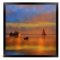 Sunset Fishing, Framed Print