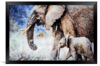 Elephant and Calf Watercolour Painting, Framed Print