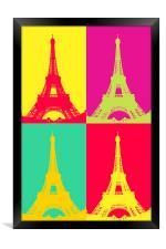 Eiffel Tower Andy Warhol Style , Framed Print