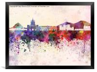 Naples skyline in watercolor background, Framed Print