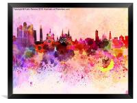 Moscow skyline in watercolor background, Framed Print