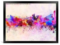 Manchester skyline in watercolor background, Framed Print