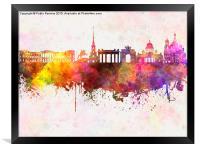 Saint Petersburg skyline in watercolor background, Framed Print