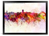 Sheffield skyline in watercolor background, Framed Print