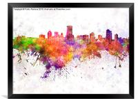 Milwaukee skyline in watercolor background, Framed Print