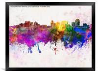 Salt Lake City skyline in watercolor background, Framed Print