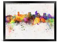 Wichita skyline in watercolor background, Framed Print