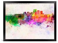 Louisville skyline in watercolor background, Framed Print