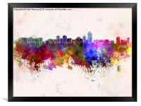 Albuquerque skyline in watercolor background, Framed Print
