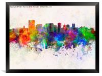 Richmond skyline in watercolor background, Framed Print
