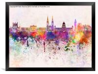 Belfast skyline in watercolor background, Framed Print
