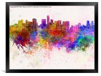 Mexico City skyline in watercolor background, Framed Print