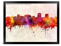 Colorado Springs skyline in watercolor background, Framed Print