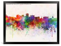 Jackson skyline in watercolor background, Framed Print