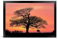silhouette at sunset, Framed Print