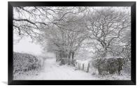 English country lane in the snow, Framed Print