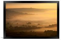 Golden mist in the Hope valley, Framed Print