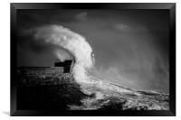 Porthcawl storm Wales, Framed Print