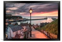 A summer sunset over Whitby pier, Framed Print