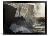 Crashing waves    Curacao views , Framed Print