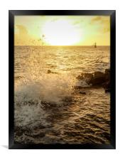 Sunset at the ocean in Punda Curacao views , Framed Print