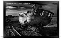 Abandoned Fishing Boat at Dungeness., Framed Print